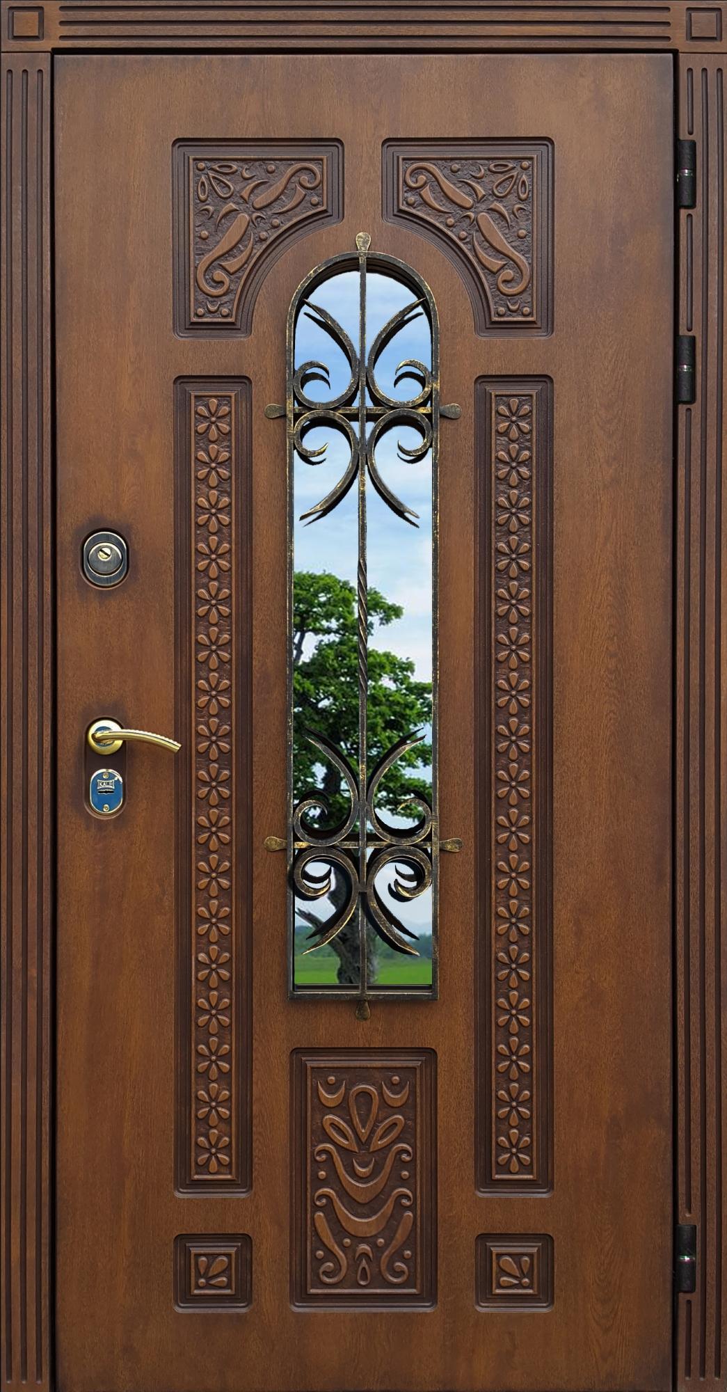 двустворчатая уличная входная дверь